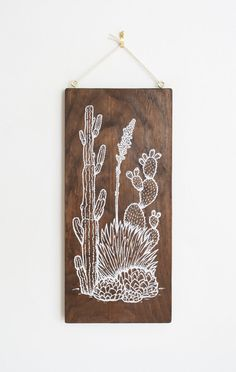 Desert Garden: Southwest Lanscape Wood Wall Art, Screen print on wood, cacti, agave, prickly pear