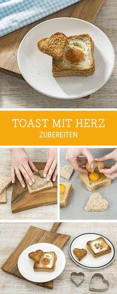 Frühstücksidee für Kinder: Toast mit Spiegelei zubereiten, Sandwich / sandwich ideas: toast with heart shaped fried egg via DaWanda.com