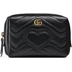 Gucci GG Marmont cosmetic case ($520) ❤ liked on Polyvore featuring beauty products, beauty accessories, bags & cases, black, travel bag, cosmetic purse, make up bag, toiletry bag and purse makeup bag