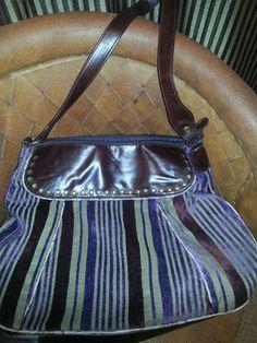 Anthropologie LuLu Ladies satchel handbag purse.  Deep Walnut with velour stripe #Anthropologie #Satchel
