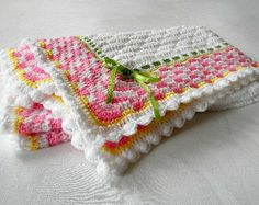 star baby blanket crochet pattern | ... Sea Breeze in Pink and White Baby Girl Blanket Afghan Original Design