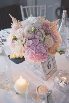 Pink & White Hydrangeas, Blush, Peach and Cream Roses and Dahlias....Stunning combination for a centrepiece by Wedding & Events Floral Design www.weddingandevents.co.uk