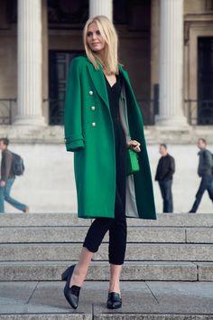 emerald green coat