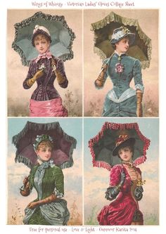 Victorian Paper Scraps – Glove Box Images Wings of Whimsy: Victorian Ladies Collage Sheet Decoupage Vintage, Vintage Crafts, Vintage Ephemera, Vintage Postcards, Victorian Pictures, Vintage Pictures, Victorian Art, Victorian Women, Vintage Clip Art