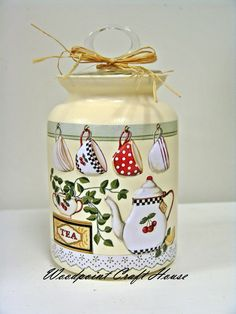 Bottle Painting, Bottle Art, Diy Painting, Painting On Wood, Decoupage Jars, Decoupage Paper, Painted Jars, Hand Painted, Jar Crafts
