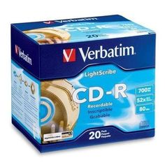 CD R 80MIN 700MB 52X LightScribe 20pk Slim Case (VER95092) Category: CD Media by Verbatim. $21.33. Item #: VER95092. CD-R Recordable Discs• Write-once media• Ideal for storing digital movies and photographs, customizing music videos, data backup and archivingBlank SurfaceFor labeling with CD labels or CD pen.52X. LightScribe. Slim jewel cases.20/PK Customers also search for: 52x;CD;CD Recordable Disc;CD-R;Disc;LightScribe;VERBATIM
