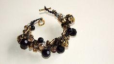 Black Gold and Beaded Crocheted Bracelet by SweetCarolinaCharm, $34.00