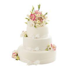 Svatební dort 44 Třípatrový svatební dort, o rozměrech 18 cm, 24 cm a 32 cm, obalen fondánem, dozdoben bílými saténovými stuhami stuhami a živými květy Cake, Food, Pie Cake, Pie, Cakes, Essen, Yemek, Meals, Cookie