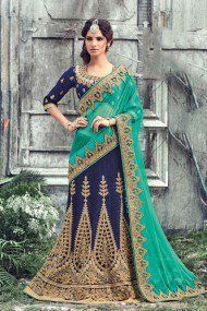 Art Silk Wedding Wear Lehenga Choli In Blue Colour