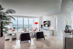 Apartments in Miami, living room, view from kitchen