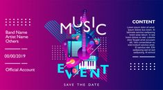 Free Banner Templates Music (5) | PROFESSIONAL TEMPLATES Leaflet Printing, Free Banner Templates, Event Poster Template, Banner Background Hd, Best Banner Design, Event Banner, Banner Images, Invitation, Party Poster