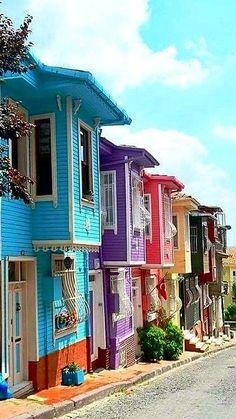 Istanbul TURKEY - Travel tips - Travel tour - travel ideas Beautiful Streets, Beautiful World, Beautiful Places, Places Around The World, Around The Worlds, Istanbul Travel, Turkey Photos, Colourful Buildings, Turkey Travel