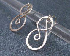 Scroll Earrings, Hammered Argentium Wire, Sterling Silver, Celtic Knot, Openwork Filigree, Scrolls & Swirls, Handmade Celtic Earrings