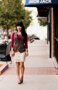 Lace skirt with army vest