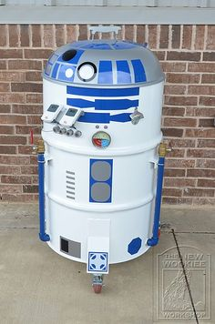 R2-BQ steel drum smoker.  Totally need to buy this for my husband.  We would have smoked chicken wings every night of the week.  Haha.