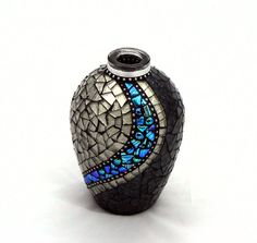 Mosaic Vase  / Black Vase / Champagne Vase by InspirationsByKathyW