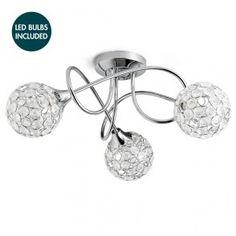 Gem Ball 3 Light Semi Flush Ceiling Light - Chrome - With LED Bulbs