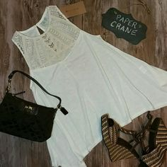 $15 BUNDLED Paper Crane Swing Lace Yoke Tank NWOT (Has 1 tag. Never worn) Ivory colored with really cool asymmetrical hem. Bust 35 inches max Paper Crane Tops