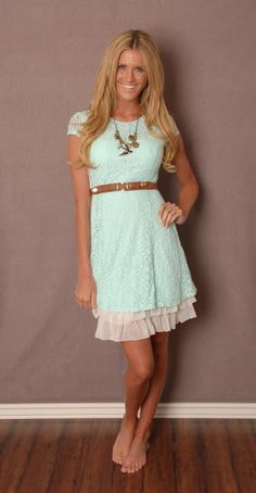 Mint lace dress with slip to make longer