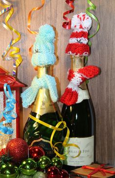 Wine Champaign Bottle Winter Hat and Scarf Crochet Decorative Christmas Gift  #Handmade