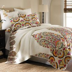 TROPICAL EXOTIC FLORAL RED GREEN BROWN BLUE IVORY  WHITE BEAUTIFUL QUILT SET