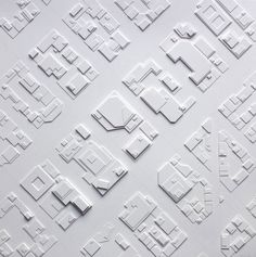 Stephanie Beck - Midtown, 2012, cut paper, graphite, glue, 10 x 10 in., from Cut Paper Maps - Relief Map Series, 2007 -2014