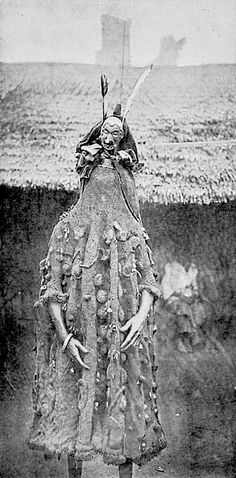 "African ""Juju costume"". Cross River Egbo Society. Image taken from a lecture given by Carl Meinhof on African Religion in Hamburg, 1912. Shaman, ritual, costume"