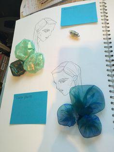 Organza page Fashion Illustration Portfolio, Fashion Design Sketchbook, Fashion Design Portfolio, Fashion Sketches, Sketchbook Layout, Textiles Sketchbook, Sketchbook Inspiration, A Level Textiles, Textile Fiber Art