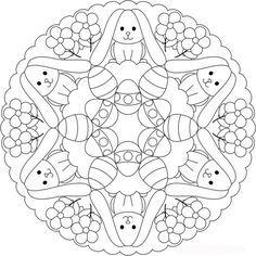 Easter Bunny and Egg Mandala to Color - Basteln Free Easter Coloring Pages, Easter Colouring, Mandala Coloring Pages, Christmas Coloring Pages, Free Printable Coloring Pages, Colouring Pages, Adult Coloring Pages, Coloring Pages For Kids, Coloring Books