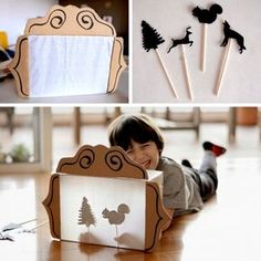 11 toys that you can create with the little ones in a few minutes . - Education - 11 toys that you can create with the little ones in a few minutes Best Picture For baby room For - Infant Activities, Preschool Activities, Cardboard Crafts, Paper Crafts, Cardboard Playhouse, Diy For Kids, Crafts For Kids, Children Crafts, Shadow Theatre