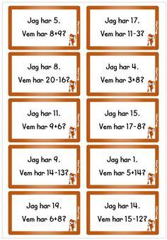 Addition och subtraktion - 20 kort Teaching, Activities, Easter Baskets, School, Education, Onderwijs, Learning, Tutorials