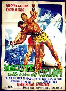 "Vintage Italian Posters ~ #illustrator #Italian #vintage #posters ~ ""Maciste nella terra dei ciclopi"" (original film title)"