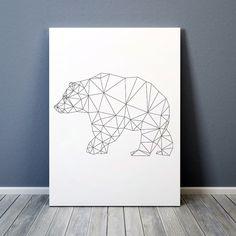 Triangle decor Geometric bear print Line art Animal poster TO314 by animalgeometry on Etsy https://www.etsy.com/uk/listing/234482396/triangle-decor-geometric-bear-print-line
