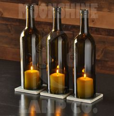 Green Cabernet Style Wine Bottle Candle Holder Centerpieces