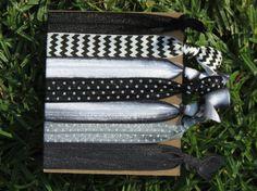 7 Pack Black White CHEVRON Polka Dots Tie by LoveMeKnotHairTies, $6.00