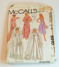 Vintage Wedding Dress Sewing Pattern McCalls 6910 Misses SZ 12 Bridal Gown Train #McCalls