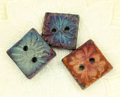 3 Square Handmade 2 Hole Raku Buttons by elementspottery on Etsy, $21.00