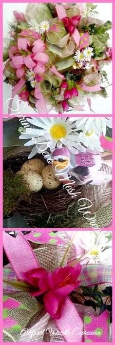 Deco Mesh Spring door wreath