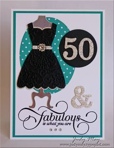 "FEBRUARY 03, 2014  Fabulous 50 | Stamps:	 Million and One; Card stock & Papers:    	 Bazzill White, Bermuda Bay, Whisper White, Silver Glimmer paper, Silver Foil, Brights DSP Patterns;  Ink:	 Versamark; Accessories:	 Basic Rhinestones; Tools:    	Dress Up Framelits, Lacy Brocade Embossing folder (retired), Timeless Type Alphabet Sizzlits (retired), Oval Framelits, Big Shot, 1 3/4"" Circle punch, Circle punch from Bitty Punch pack, Black embossing powder, Heat gun, Dimensionals"