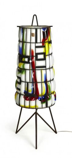 Flavio Poli; Decorated Glass and Enameled Steel Floor Lamp by Seguso Vetri D'Arte for the Venice Biennale, 1958.