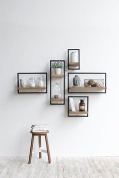 modern wooden wall shelves design ideas for living room 2019 Wooden Wall Shelves, Wall Shelves Design, Decorative Wall Shelves, Bedroom Wall Shelves, Wooden Shelf Design, Unique Wall Shelves, White Wall Shelves, Wall Design, Bathroom Shelf Decor