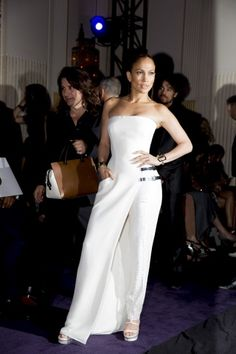Jennifer Lopez backstage at the Versace couture show.