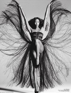stunning flowing Naomi Campbell