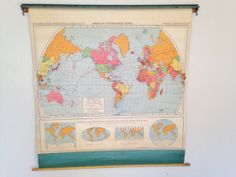 Vintage Pull Down World Map by Revives on Etsy
