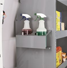 This sturdy spray bottle tray will mount to partitions, shelving unit sides or just about any other flat vertical surface in your van. Each x tray has two 3 holes to accommodate spray bottles of any shape with a diameter of 4 at the Best Garden Tools, Steel Wall, Garage Organization, Bottle Holders, Spray Bottle, Floating Shelves, Cleaning Supplies, Storage, Clinic
