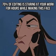 What editing is all about… the ugly llama face... Emeperor's New Grove is my favorite humorous Disney movie... :)