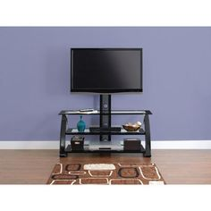 """Spar Glass and Metal TV Stand for TVs up to 55"""""""