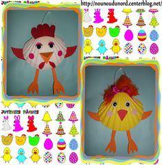 Crafts,Actvities and Worksheets for Preschool,Toddler and Kindergarten.Lots of worksheets and coloring pages. Duck Crafts, Animal Crafts, Easter Crafts, Kids Crafts, Seashell Crafts, Beach Crafts, Coquille St Jacques, Seaside Art, Diy Ostern
