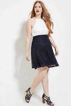 Plus Size Shadow Stripe Skirt | Forever 21 PLUS - 2000151507