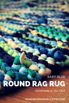 Every shade of blue plus green, gray, yellow, and white make our round rug perfect for a nursery: https://www.etsy.com/listing/93617212/t-shirt-rag-rug-baby-blue-circular-navy
